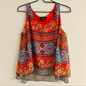 By&By Layered Sleeveless Tunic Geometric Red